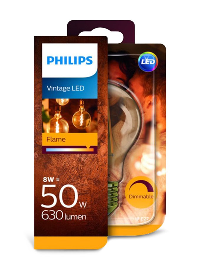 Image of   E27 - Philips Flame LED Pære - 8W