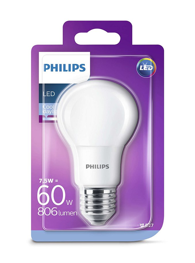 Image of   E27 - Philips Classic LED - 7.5W - 6500K