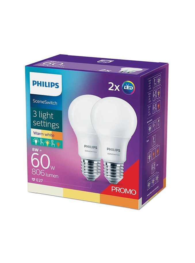 Image of   E27 - Philips SceneSwitch - 8/2/5W - 2-pak