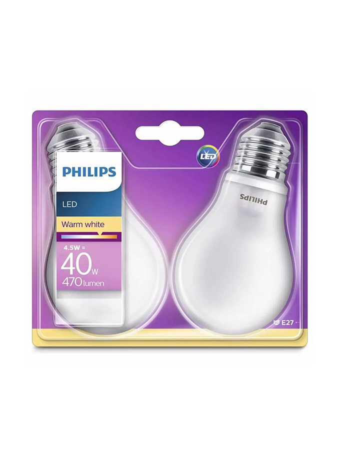Image of   E27 - Philips Classic LED - 4.5W - 2-pak