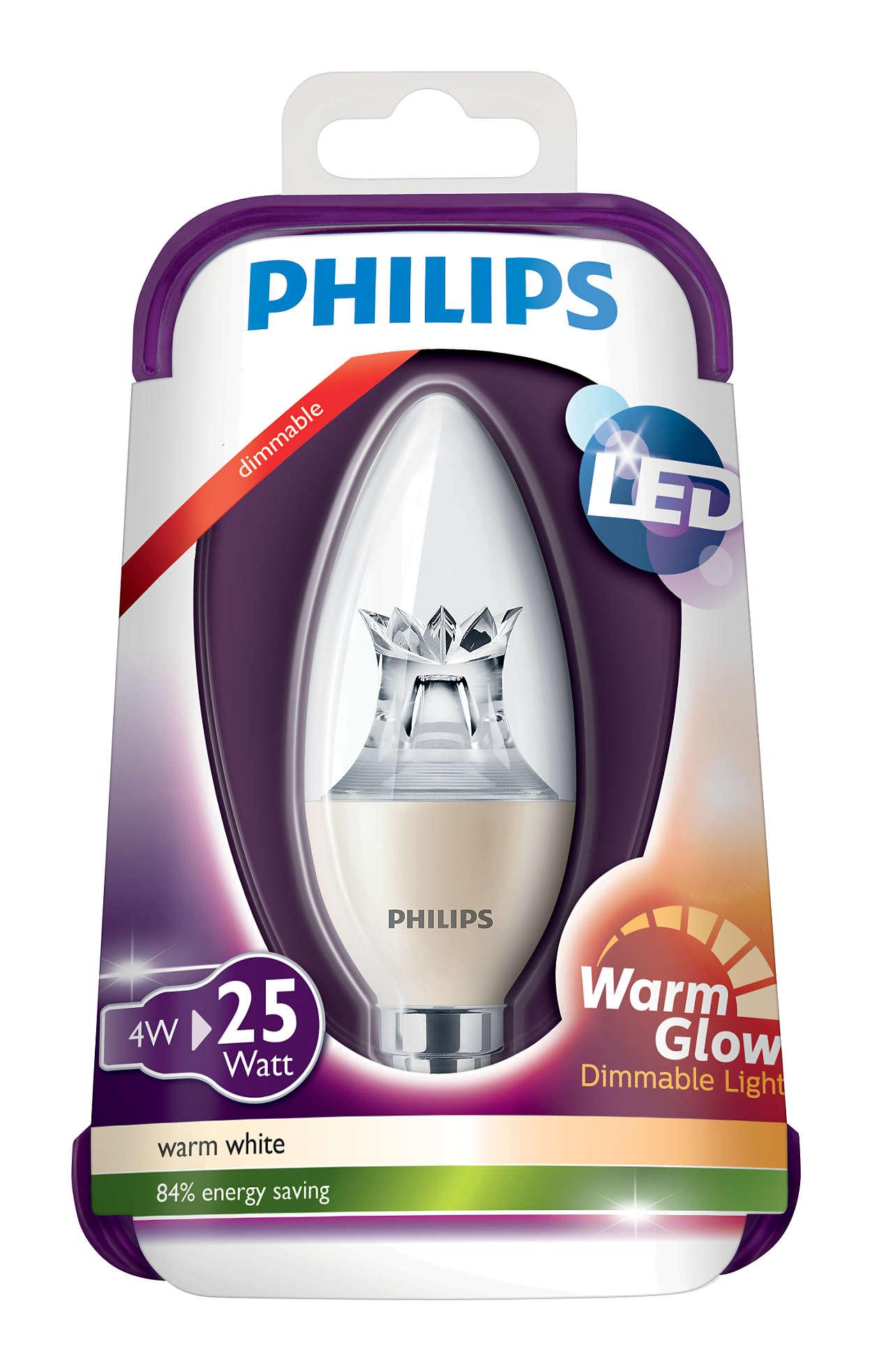 Image of   E14 - PHILIPS Kerte LED - 4W - Dæmpbar