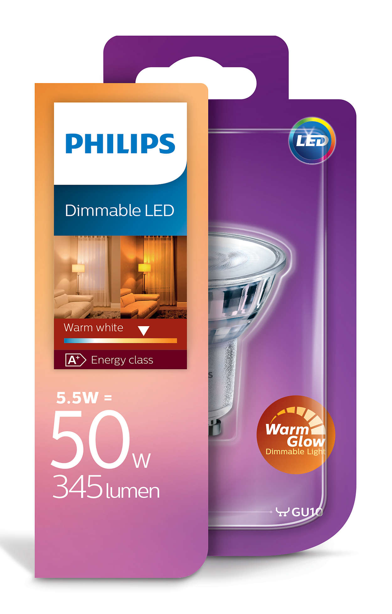 Image of   GU10 - Philips LED Spot - 5W - Warm Glow