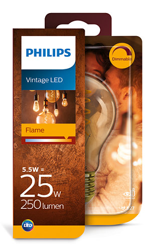 Image of   E27 - Philips Flame LED Pære - 5.5W