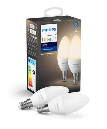 Philips Hue White LED pære - E14 Kerte 2-PACK - Bluetooth Smart Pære