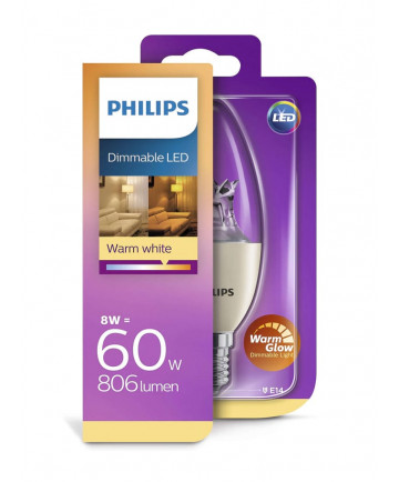 E14 - Philips Kerte LED - 8W (dæmpbar)
