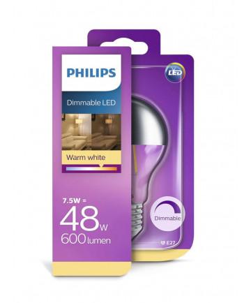 E27 - Philips LED - 7.5W - Topforspejlet (dæmpbar)
