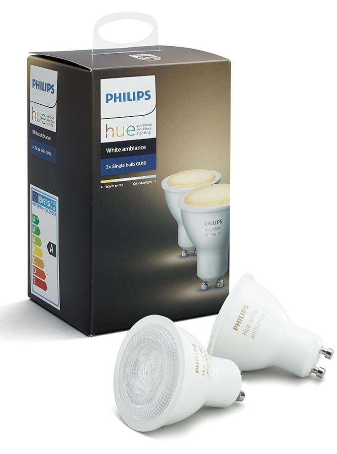 philips hue white ambiance gu10 led spot 2 pack. Black Bedroom Furniture Sets. Home Design Ideas