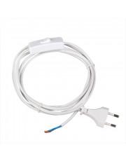 Hvid ledning - 2m - med stikprop og afbryder