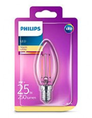 E14 - Philips LED Kerte Pære - Klar - 2W - 250lm