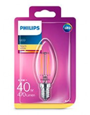 E14 - Philips LED Kerte Pære - Klar - 4.3W - 470lm