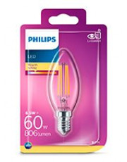 E14 - Philips LED Kerte Pære - Klar - 6.5W - 806lm