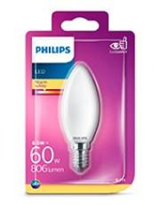 E14 - Philips LED Kerte Pære - Mat - 6.5W - 806lm