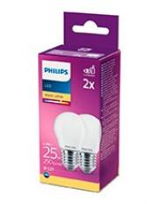 E27 - Philips LED Krone Pære - Mat - 2.2W - 250lm  2-pak