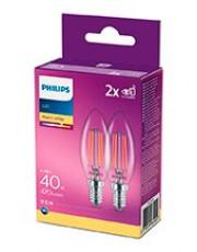 E14 - Philips LED Kerte Pære - Klar - 4.3W - 470lm  2-pak
