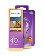E27 - Philips LED - 5.5W - Warm Glow (dæmpbar)