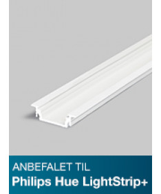 Aluminiumsprofil - Model G til Philips Hue LightStrip Plus - Hvid
