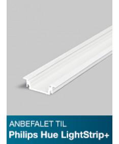 Aluminiumsprofil - Model G til Philips Hue LightStrip Plus - Hvid