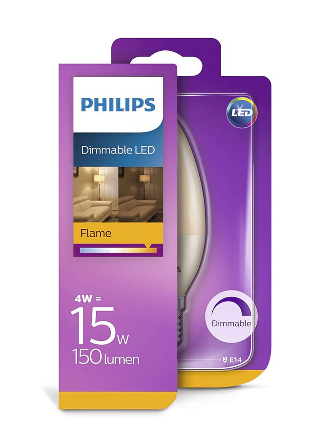 Image of   E14 - Philips LED Kerte Pære - 4W