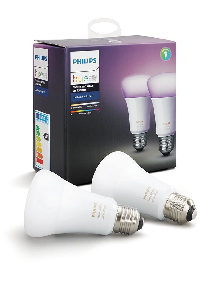 Image of   Philips Hue LED pære - E27 Farvet 2-PACK