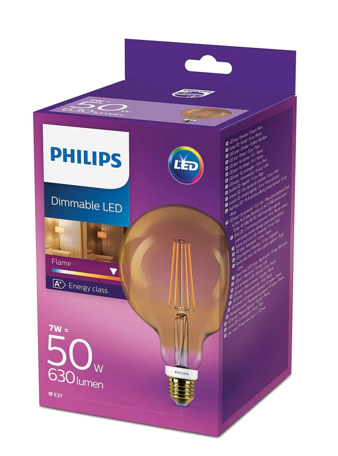 Image of   LED Globepære - Philips Flame - 12.5cm - Dæmpbar
