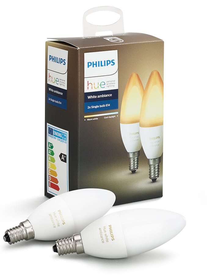 Image of   Philips Hue Ambiance LED pære - E14 Kerte 2-PACK