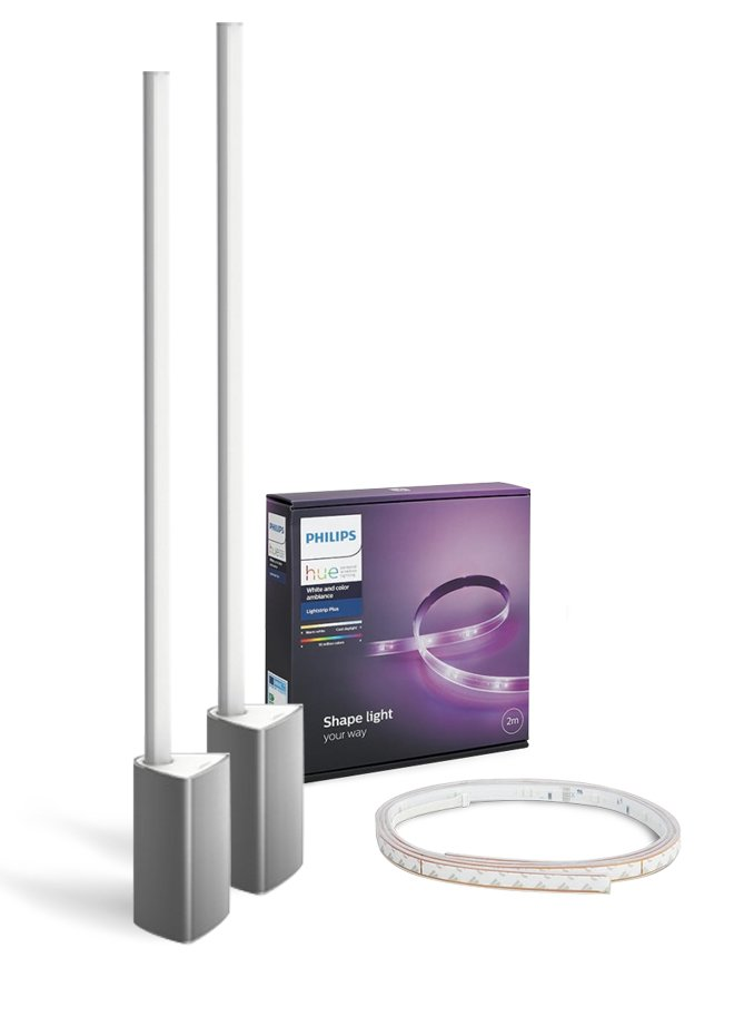 Image of   Philips Hue Gaming - 2 x Signe Bordlampe + LightStrip