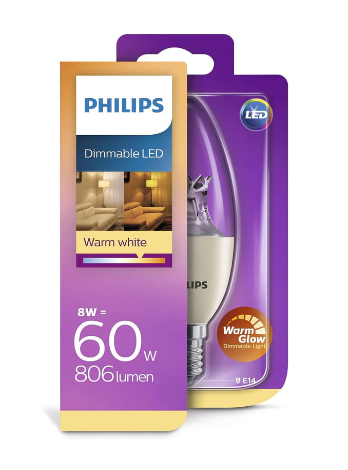 Image of   E14 - Philips Kerte LED - 8W (dæmpbar)
