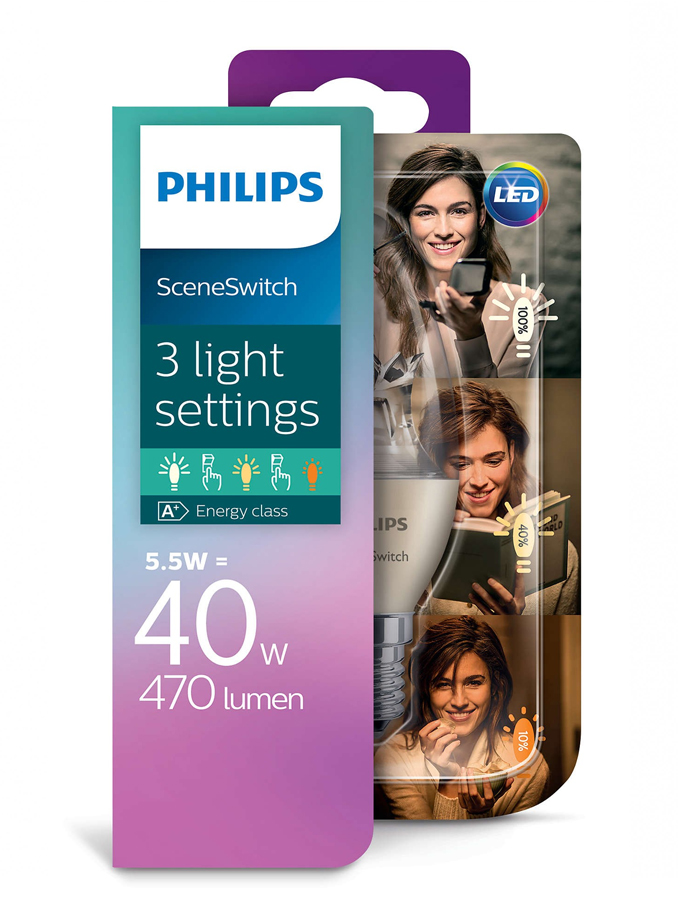 Image of   E14 - Philips LED Kerte Sceneswitch - 5.5/4/2W