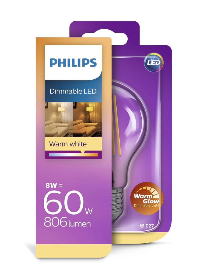 Image of   E27 - Philips LED - 8W - Warm Glow (dæmpbar)