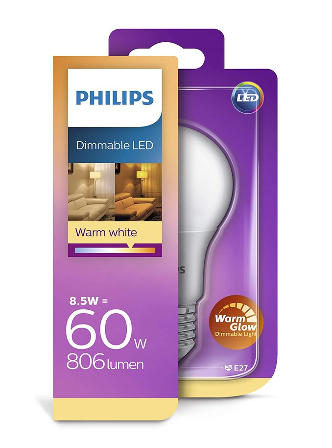 Image of   E27 - Philips LED - 8.5W - Warm Glow Dæmpbar
