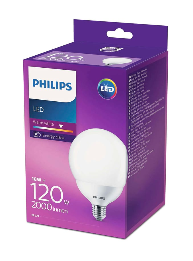 Image of   E27 - Philips LED Globe Pære - 18W