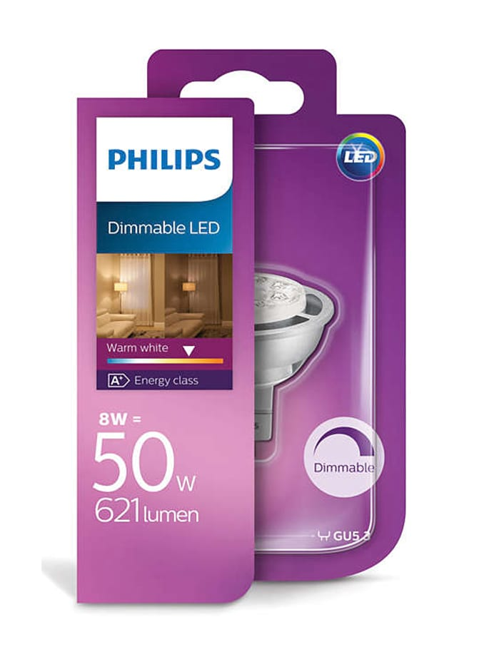 Image of   MR16 - PHILIPS LED Spot - 8W - Dæmpbar