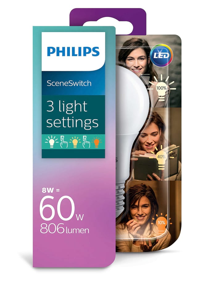 Image of   E27 - Philips SceneSwitch LED pære 8/5/2W