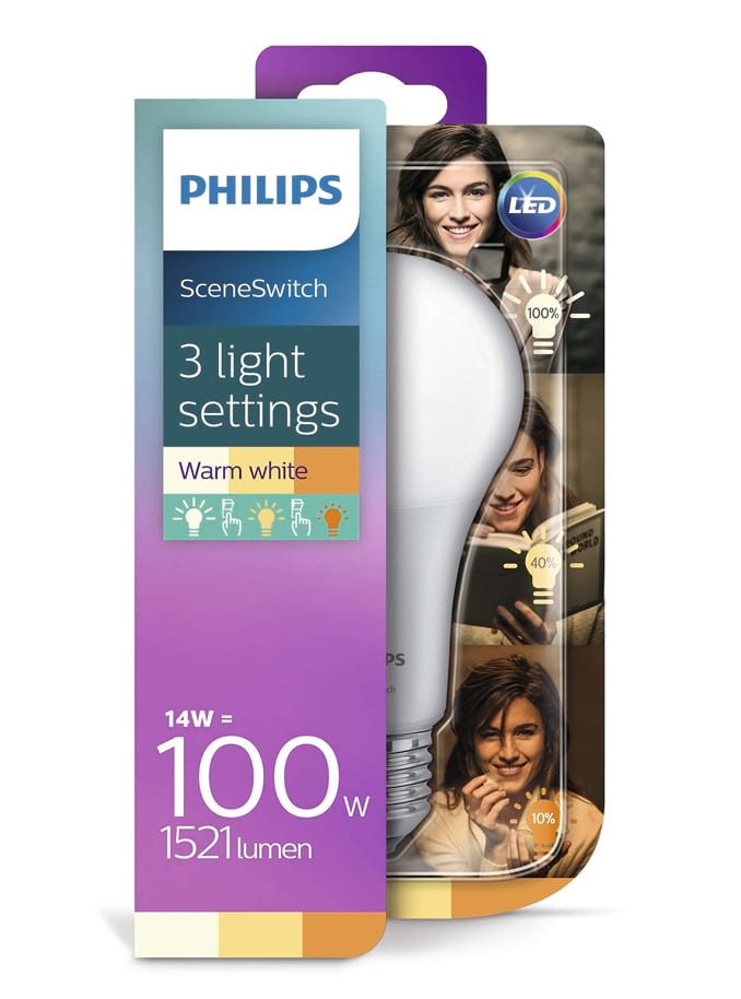 Image of   E27 - Philips SceneSwitch LED pære 14W
