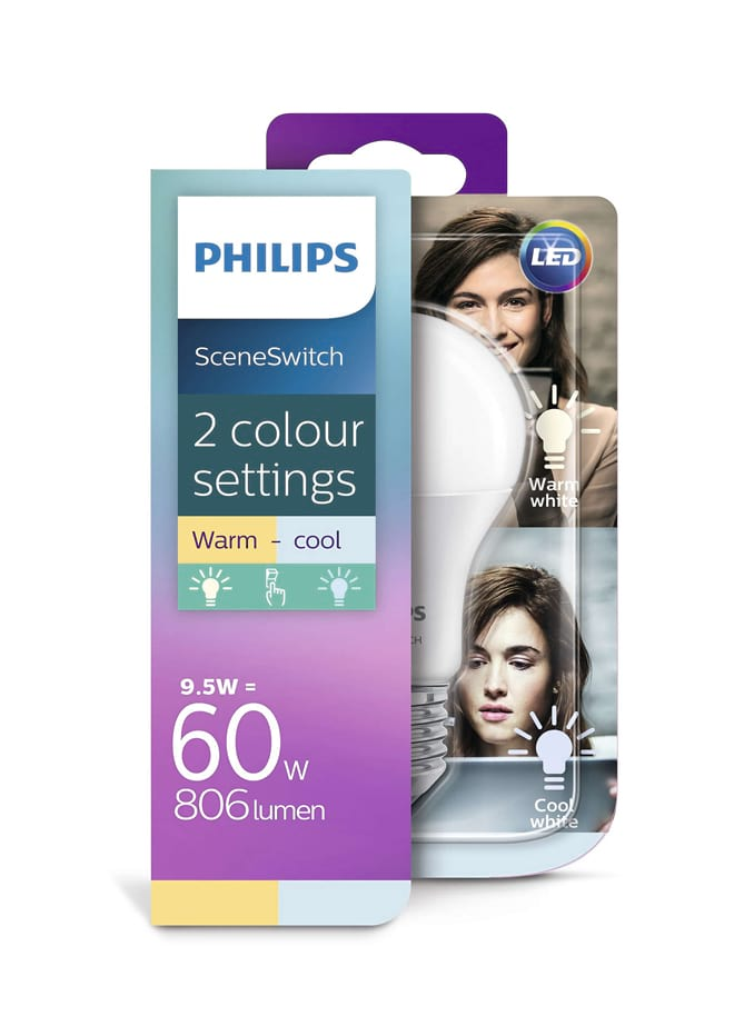 Image of   E27- Philips SceneSwitch LED pære - 9.5W